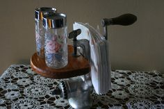 Vintage Re-used Meat Grinder Salt & Pepper Napkin Holder Re-purposed