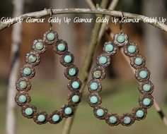Pink Panache Rust Brown Teardrop Earrings with Large Turquoise Studs