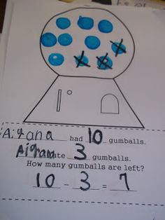 Mrs. Wood's Kindergarten Class: subtraction gumballs with bingo markers!