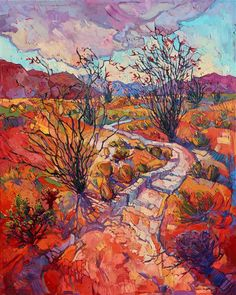 Ocotillo Blooms, modern expressionism oil painting of Borrego Springs, by California artist Erin Hanson