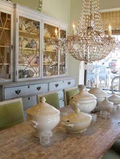 Vintage Living Lighting ...love the pottery, chandelier and cupboard for kitchen ...