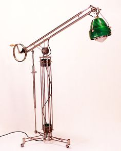 The Green Land-Turn - Made from re-purposed and re-imagined bearing parts and a vintage industrial flood lamp
