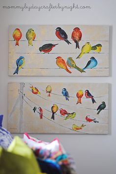 birds art Print Inspiration is part of Bird Art Wall Art Prints Page - Mommy by day Crafter by night Drab to FAB Bedroom Makeover Bird Painting Acrylic, Love Birds Painting, Watercolor Bird, Diy Painting, Watercolor Paintings, Watercolor Artists, Watercolor Portraits, Painting Tutorials, Watercolor Landscape