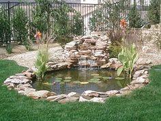 43 Stunning Garden Pond Waterfall Design Ideas - Home/Decor/Diy/Design Small Backyard Ponds, Backyard Water Feature, Outdoor Fish Ponds, Outdoor Fountains, Backyard Waterfalls, Small Ponds, Water Fountains, Backyard Ideas, Fish Pond Gardens