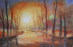 Sunset trees on riverbank Interior Paint, Interior Decorating, Gumtree South Africa, Buy And Sell Cars, West Coast, Watercolour, Home And Garden, Trees, Paintings