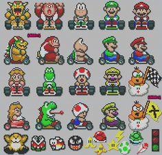 mariokart sprites pixels http://odysseedupixel.fr/wp-content/gallery/super-mario-kart/3782639323_9deda49496.jpg