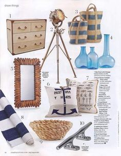 Currents: Nautical Decor. Coastal Living Magazine - Lacefield Designs Anchor Pillow & Ropes and Knots Pilow www.lacefielddesigns.com