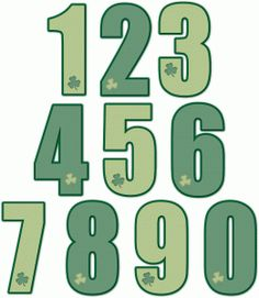 Silhouette Design Store: nested st. patrick's day numbers 1-0
