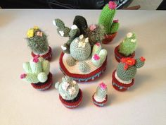 Crochet Cactus Patterns variety of 3 cacti by KristinsArt4u