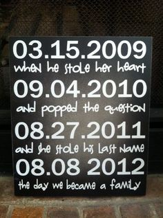 Important Dates sign with Child's Birthday by AguinigaL11 on Etsy