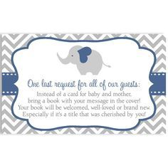 Invite guests to your boy baby shower with this blue and gray chevron striped invitation featuring an elephant.