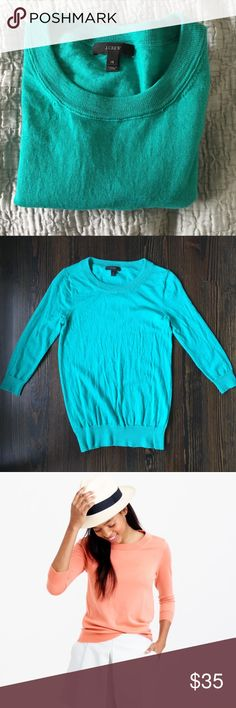 J. Crew Merino Wool Tippi Sweater in Green J. Crew Merino Wool Tippi Sweater in Green. J. Crew's classic fitted crew neck Pullover Sweater.  Dress up or dress down!  Color is best represented by first pic.  Good used condition, no major flaws and really fun color for Spring!  Make me an offer 😉 J. Crew Sweaters Crew & Scoop Necks