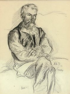 Maximilien Luce (French, 1858-1941), Portrait d'Henri-Edmond Cross les bras croisés [Portrait of Henri-Edmond Cross with arms crossed]. Charcoal on paper, 30 x 22 cm