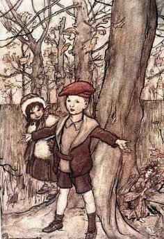 """One day they were overheard by a fairy"", illustration of Maimie and Tony in Peter Pan in Kensington Gardens"
