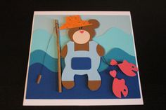 Handmade 3D Teddy Bear Fisherman Birthday Card Postcard Beautiful Unique Funny
