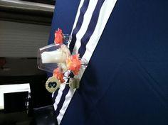 Attractive Nautical/Beach Themed Table Linens And Centerpiece : Wedding Beach Blue  Coral Diy Nautical Navy