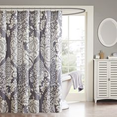 Madison Park MP70-1920 Vienna Shower Curtain Floral 72  x 72   Slate NEW