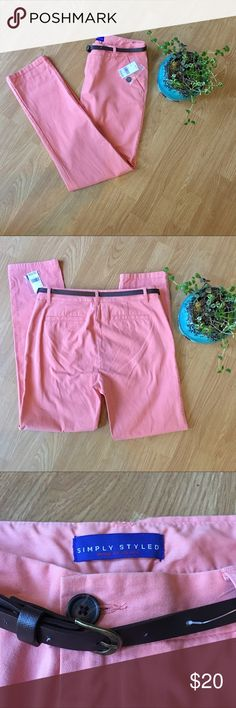 """Simply Styled Coral Pants NWT soft pants in coral haze color. Size 4. Comes with brown belt.                                     Measurements laying flat are inseam: 28"""", rise: 10"""" and waist: 15"""" Simply Styled Pants Skinny"""