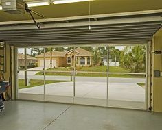 Inside view of garage screen, Garage Ideas An easy way to turn your garage into a breezy workshop or even playroom for the children! Or, want the breeze with some privacy? Sunscreen (white or charcoal) will allow the breeze in but keep the nosy neighbors out! #garageremodeling