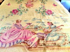 This Italian bedspread or bed cover is just stunning and is surely a trousseau piece. Its hand painted on yellow, moire taffeta which feels like