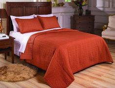 Vintage Washed 100% Cotton 2pcs Solid Rust Orange Quilt Bedspread Coverlet Twin #ChezmoiCollection #Contemporary