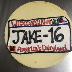 License Plate cake Young Adults, Teen, Plates, Cake, Food, Licence Plates, Pie Cake, Plate, Meal