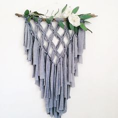 Heather Grey Macrame hanging out in my etsy shop. The softest fringe, swoon! Modern Macrame, Macrame Art, Macrame Projects, Crafts To Make, Arts And Crafts, Deco Boheme, Macrame Patterns, Boho, Diy Gifts
