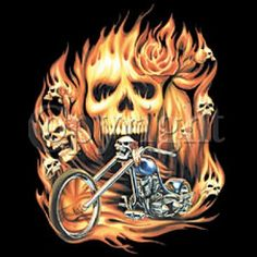 Skull T-shirt - Biker Skull in Flames Tee Biker T-shirts Skull T-shirt - Biker Skull in Flames Tee Image size: 11 X 11 Available up to size 6XL!
