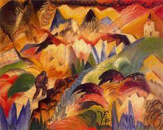 Mountain - Albert Bloch. Albert Bloch was an American Modernist artist and the only American artist associated with Der Blaue Reiter, a group of early 20th-century European modernists.