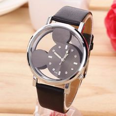 relogio feminino Fashion Cartoon Mickey Mouse women Watch Transparent Hollow quartz watches Leather strap wristwatch girl Gift #Affiliate
