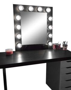 Hollywood Vanity Mirror with Lights, Makeup Vanity Mirror with Lights, Vanity Mirror with Lights Ikea, Lighted Makeup Mirror, Black Vanity Desk, Black Makeup Vanity, Makeup Vanity Mirror, Vanity Room, Vanity Set, Vanity Ideas, Black Makeup Table, Black Makeup Room, Ikea Vanity