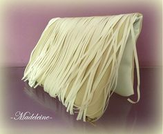 -Madeleine- / white stripes clutch bag