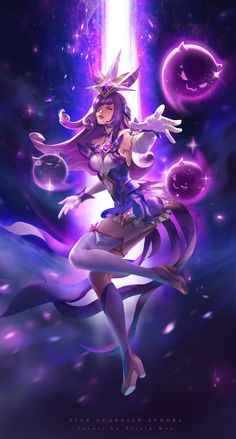 Star Guardian Syndra, Tricia Wee - League of Legends Lol League Of Legends, League Of Legends Poster, Akali League Of Legends, Ahri League, League Of Legends Characters, Fantasy Girl, Dark Fantasy, New Star Guardian Skins, Ahri Star Guardian