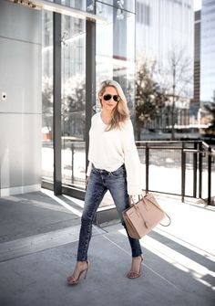 skinny jeans and oversized sweater