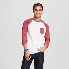 Men's Raglan Tee Red XL - Mossimo Supply Co., Scarlet Red