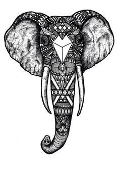 Elephant head, indian art.