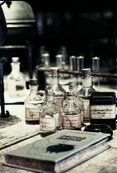 Bottles of potions littered the desk. Too many books to count on the tables. Slytherin Pride, Slytherin Aesthetic, Harry Potter Aesthetic, Ravenclaw, Alchemy, Hogwarts Mystery, Witch Aesthetic, Bellatrix Lestrange, Draco Malfoy