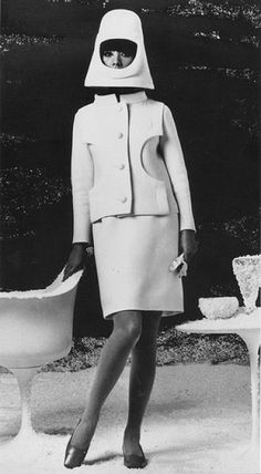 """Linda Morand, 1966 photo from the book """"Pierre Cardin: Past, Present, Future"""" Space Age Helmut"""