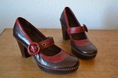 Clarks Wine Red and Chocolate Brown Leather Mary Jane Heel Pumps 6   eBay