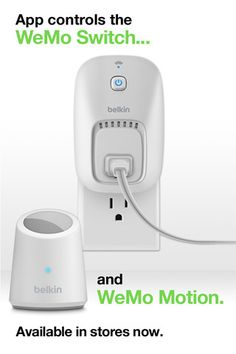 App controls the WeMo Switch and WeMo Motion.     The iPhone home remote. Control stuff in your home – from anywhere.    Introducing WeMo.    Belkin's new WeMo system is a family of simple, ingenious products that use your iPhone and your home Wi-Fi® network to connect you to the things and people you love. WeMo is your home at your fingertips.     WeMo can control just about anything.
