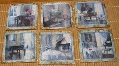 ξύλινα σουβεράκια διακοσμημένα με τεχνική decoupage με χαρτή ακρυλικά χρώματα δακτυλοπατίνες πατίνες λαδιού και φύλλα χρυσού
