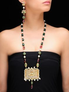 Buy Citrin Yellow Ivory Forest Green Purple Golden Onyx Kundan Neckalce with Earrings Semi Precious Stones Metal Alloy Jewelry Fashion Serene Statements Colorful Online at Jaypore.com