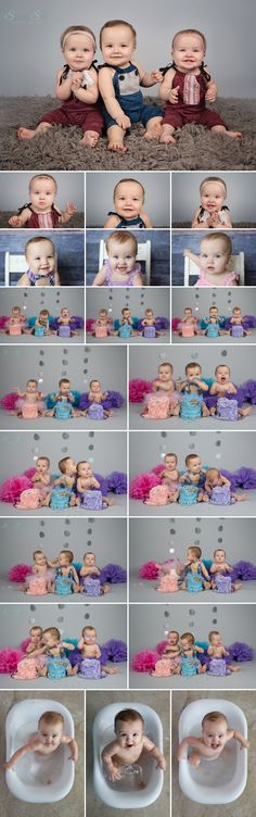 Triplet studio cake smash.  So fun and full of color. Baby Photographer, Sunny S-H Photography