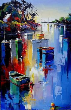 Interesting color palette and reflections in this palette knife sailboat painting.