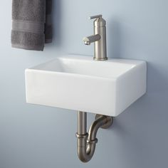 "$139 Signature Hardware   Length: 13-1/4""Width: 11-1/2""Height: 4-3/4""  Farrand Wall-Mount Bathroom Sink"