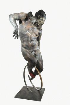GRZEGORZ GWIAZDA Cyclist, 2014 Bronze and still 210 × 95 × 90 cm