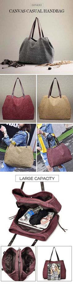 US$25.99 + Free shipping. 2 main bags,1 zipper pocket, large capacity for your everyday storage. Canvas casual large capacity handbag, suitable for most occasions.