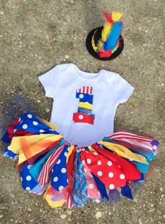 Circus birthday outfit Red Yellow Blue and Turquoise by LilNicks