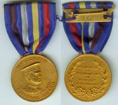 The OMSA Medal Database - Perfect Attendance Medal (Type II, King Medal), gold for 5 Years - OMSA Military Insignia, National Guard, Attendance, 5 Years, King, Type, Gold, Yellow