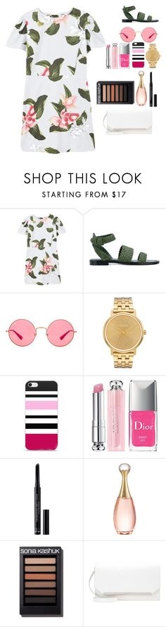 """""""Crystal"""" by meen16 ❤ liked on Polyvore featuring MANGO, Paul Andrew, Ray-Ban, Nixon, Christian Dior, white, Pink and GREEN"""